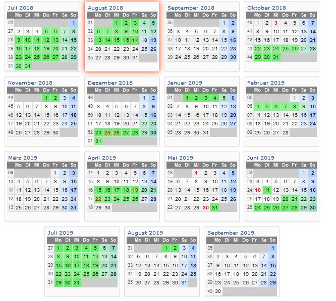 Schulkalender 2018 - 2019