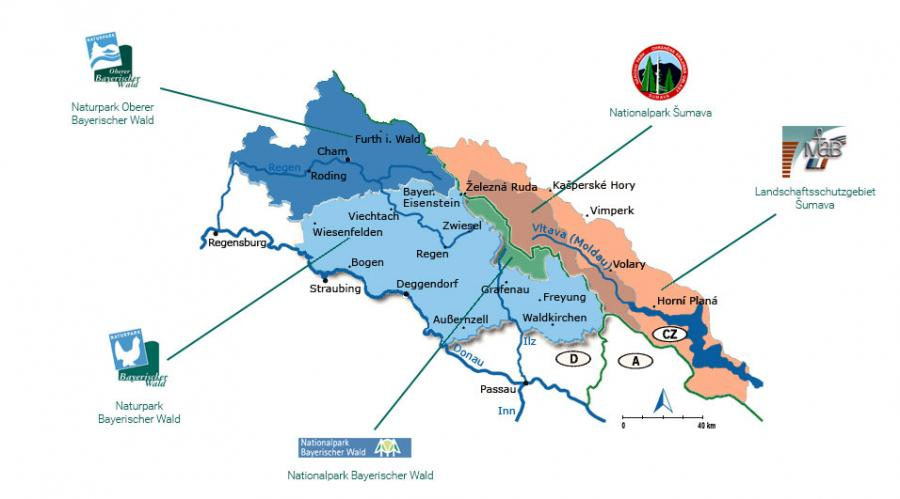 Überblick über die verschiedenen Schutzgebiete rund um Bayerisch Eisenstein