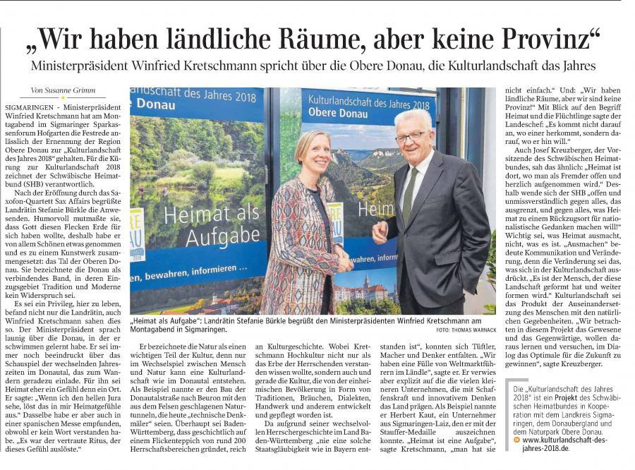 Schwäbische Zeitung 2. Mai 2018