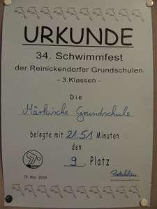 Schwimmfest 2014 Urkunde