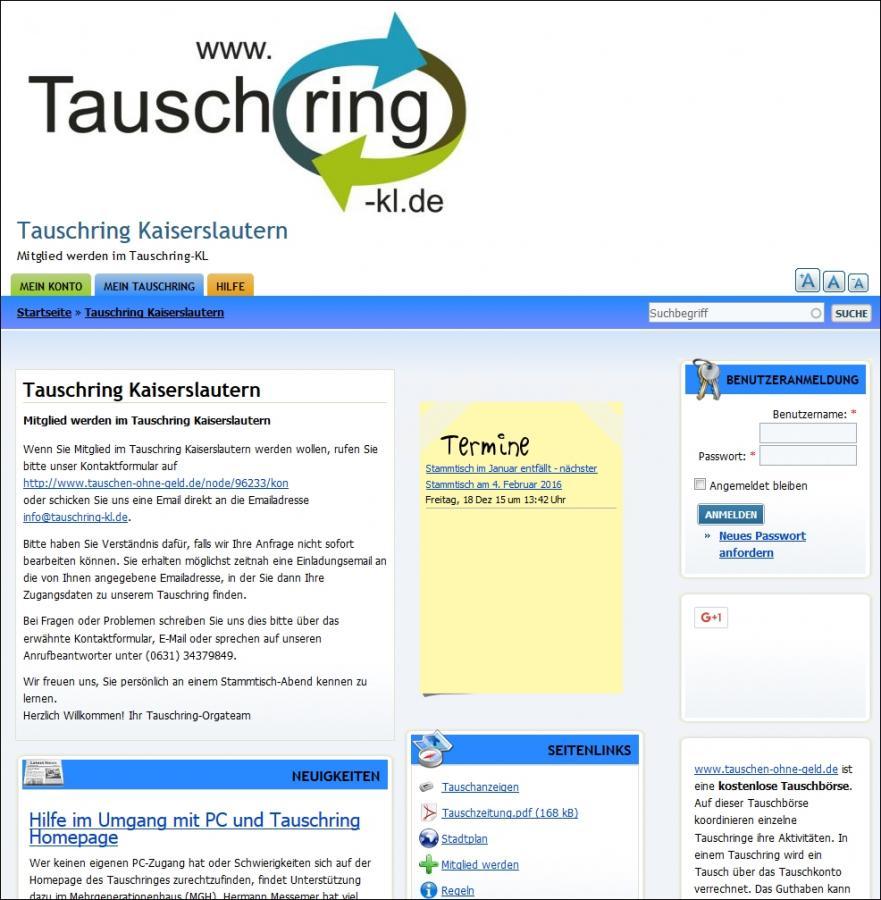 Vorschau Webseite des Tauschring Kaiserslautern