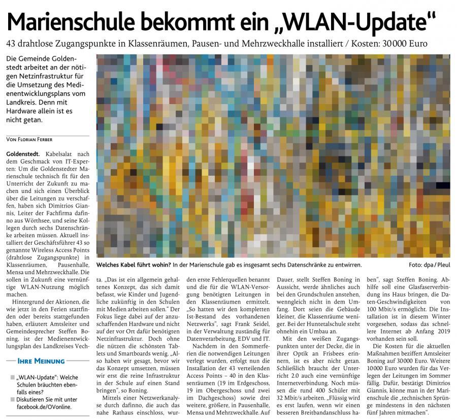 OV-Artikel vom 16.10.2018 (WLAN)