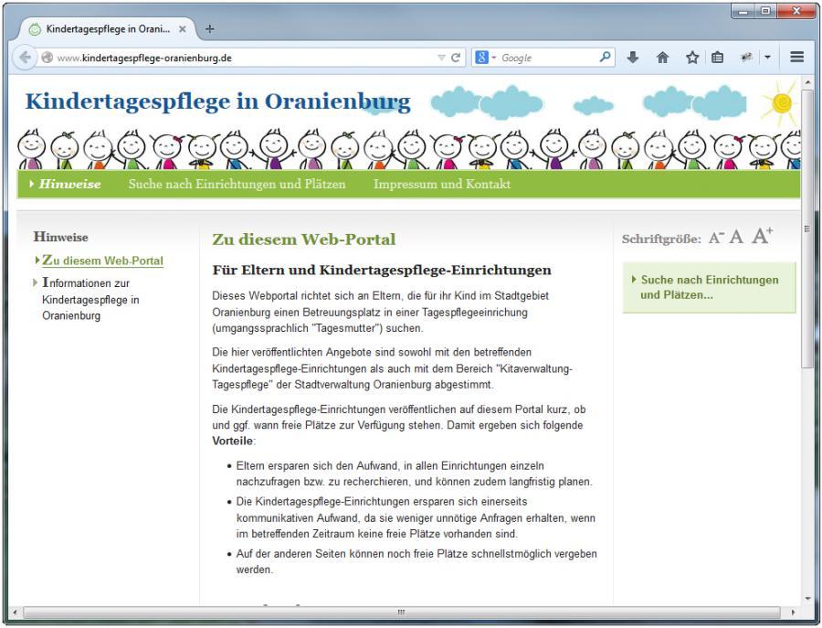 Portal der Kindertagespflege in Oranienburg