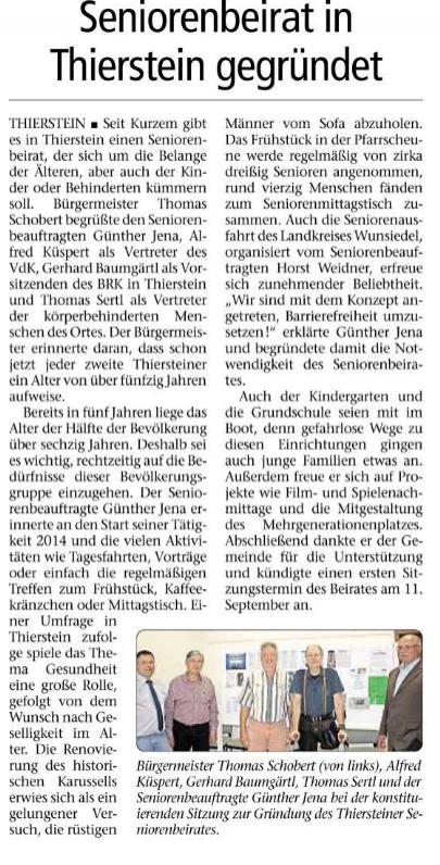 Seniorenbeirat gegründet in Thierstein