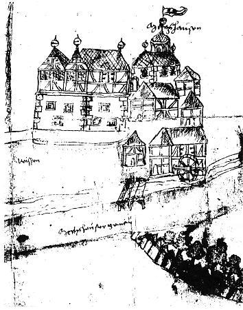 Skizze der Wasserburg, angefertigt 1588 von dem Geometer Jost Mors