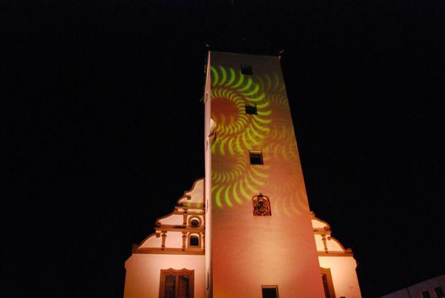 Shoppingnacht 2010: Lichtprojektion auf dem Alten Rathaus