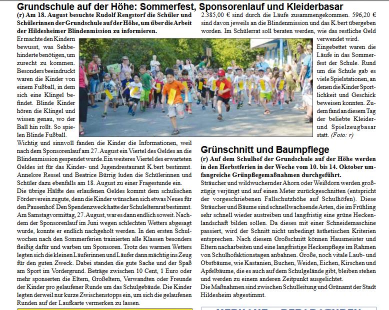 Sommerfest und Sponsorenlauf - Artikel aus Stadteilzeitung