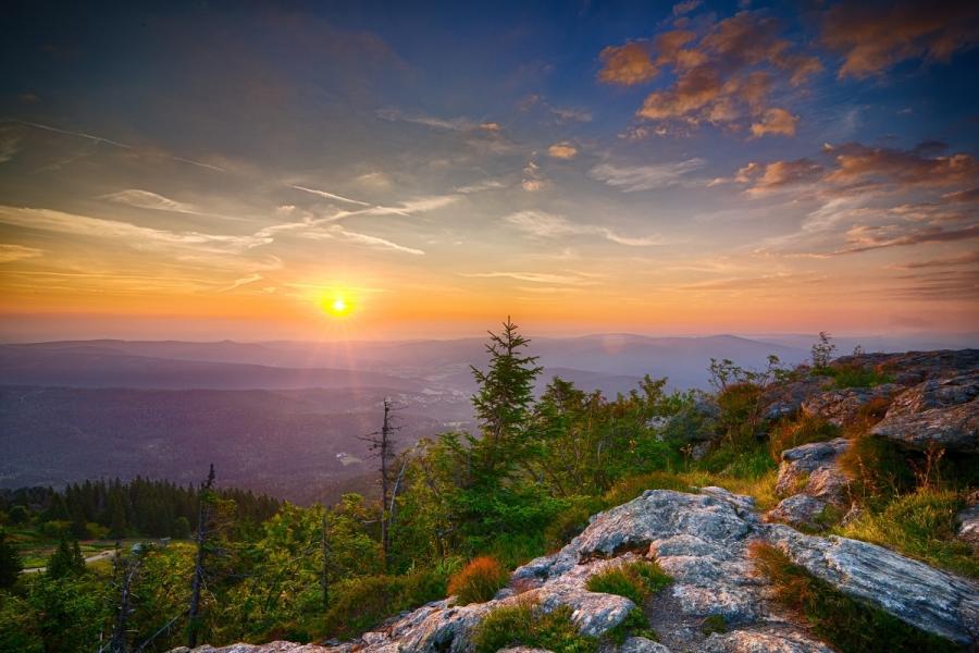 Sonnenaufgang vom Gipfel des Großen Arbers