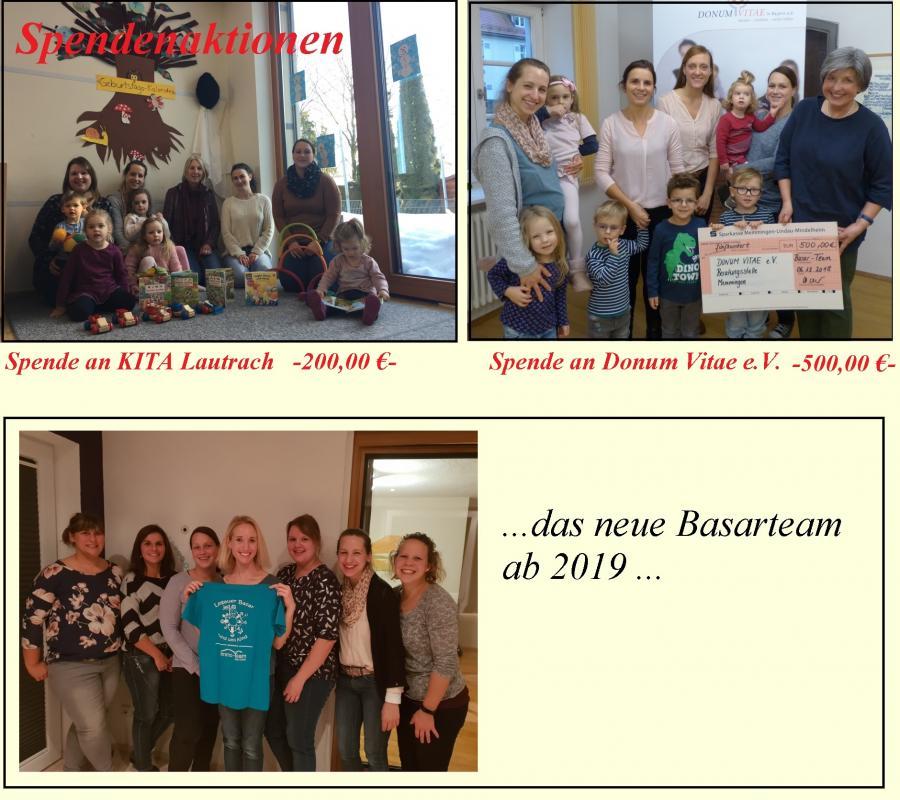 Spenden u. neues Basarteam 2019