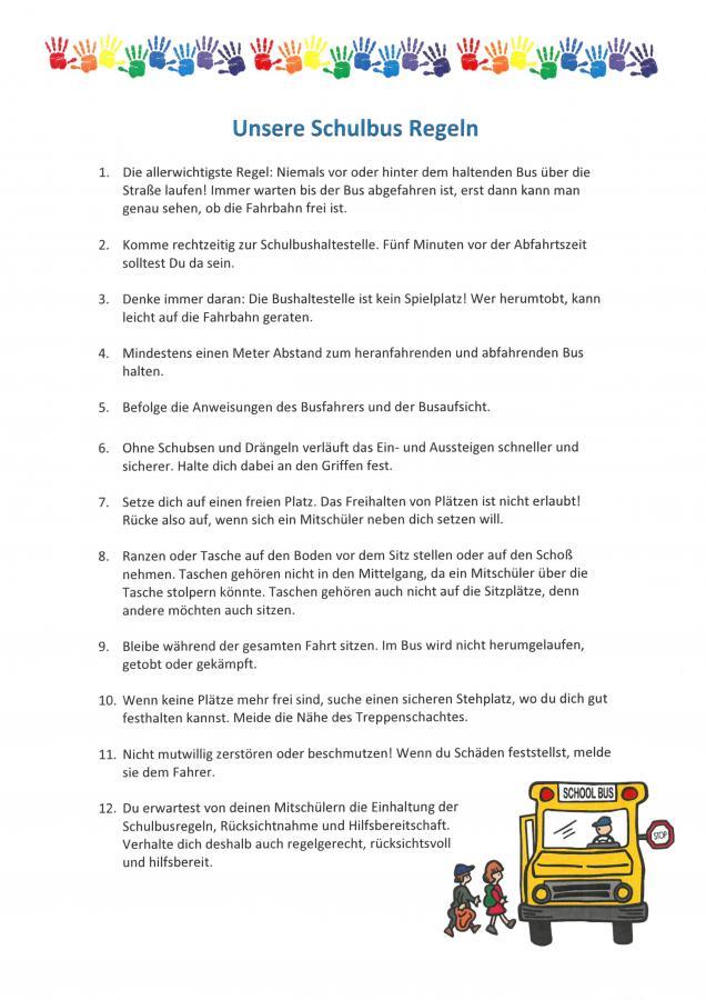 Schulbusregeln