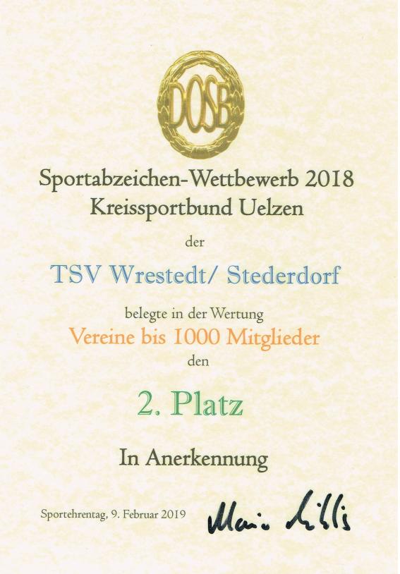Sportabzeichenurkunde 2018