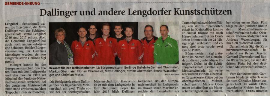 Sportlerehrung Gemeinde Lengdorf 2017