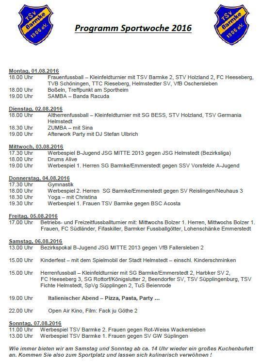 Programm der Sportwoche 2016