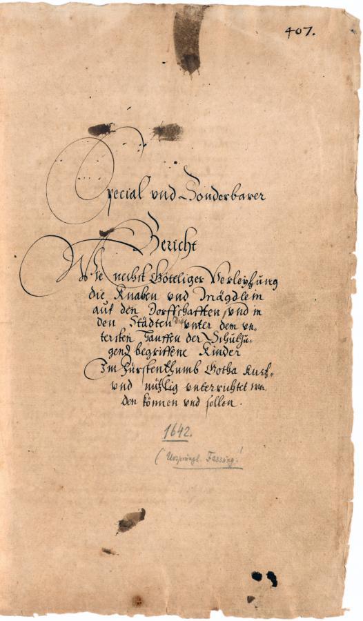 Andreas Reyher. Schulmethodus, 1642. FBG, Gym. 9, Bl. 407r.