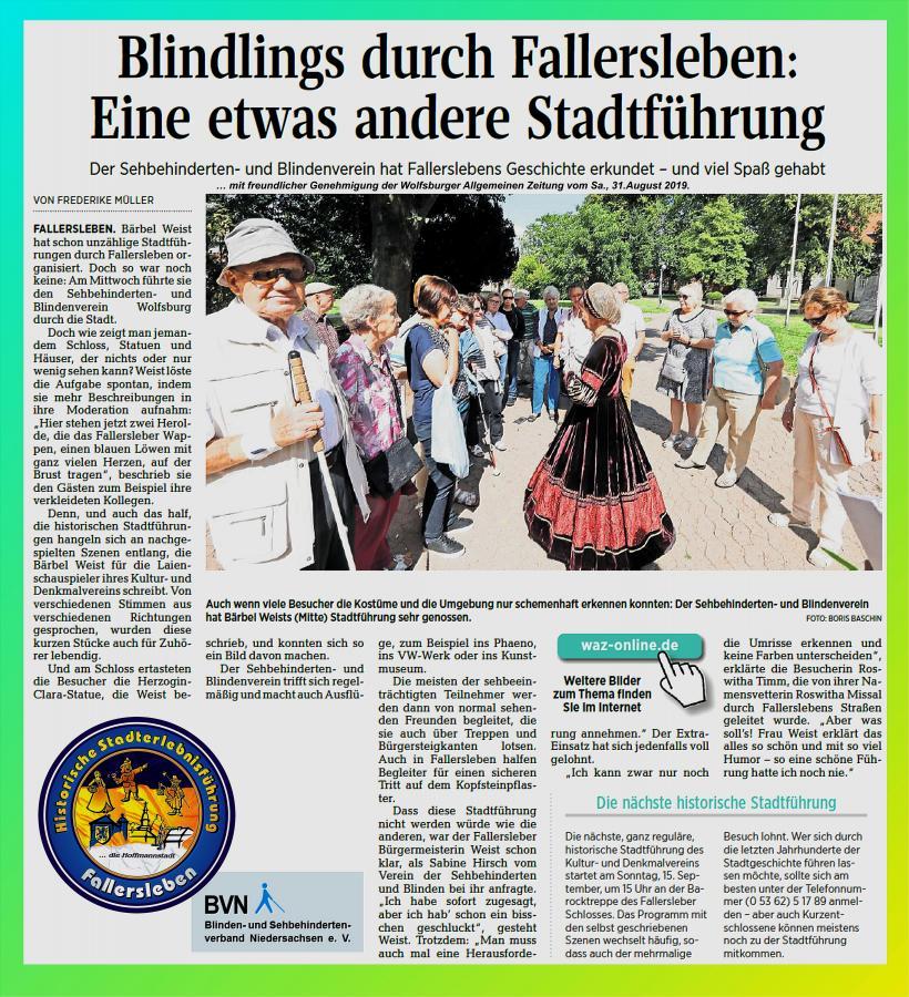 Stadtführung für Blindenverein Wolfsburg 2019