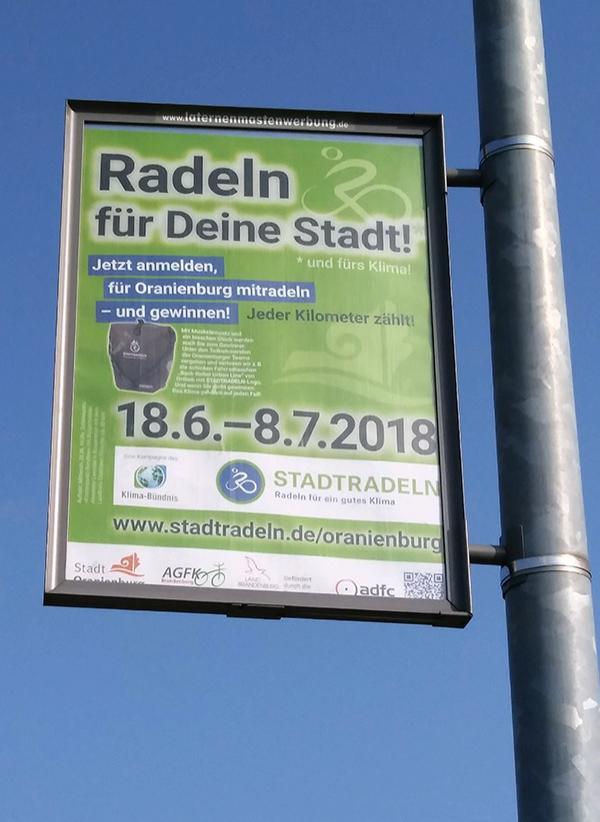 STADTRADELN 2018 – Plakat an Lichtmast