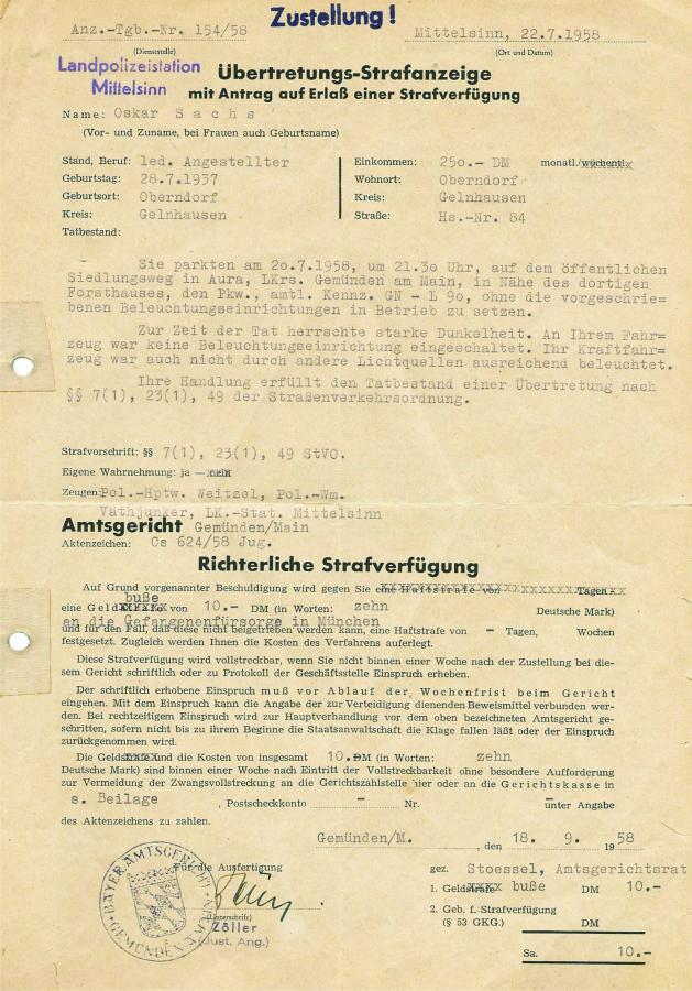 Strafanzeige 1958 S1