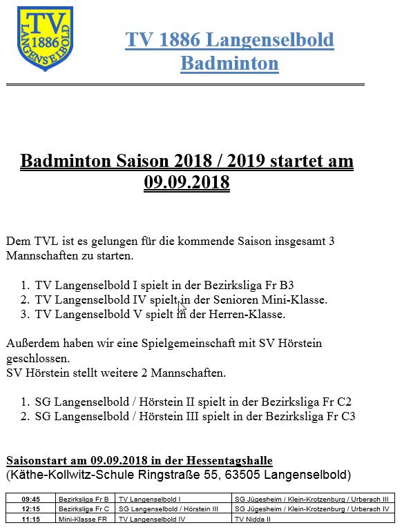 Start Saison 2018_19