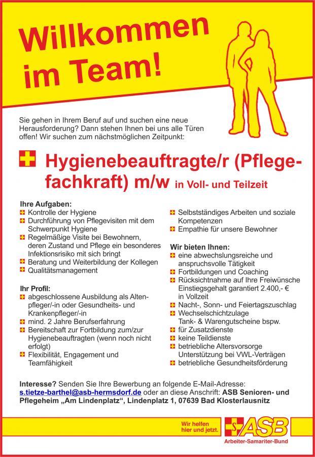 Stellenanzeige_stationär_Hygienbeauftragte/r