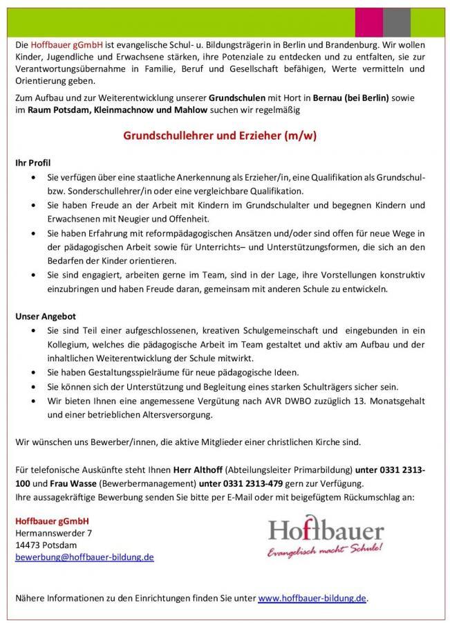 Stellenausschreibung der Evangelischen Grundschule Bernau