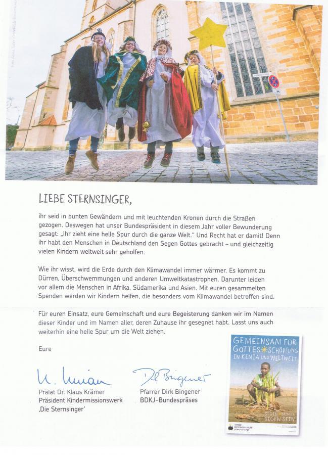 Dankesschreiben für Sternsinger
