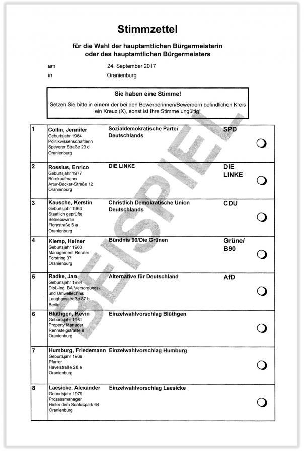 Stimmzettel zur ersten »Runde« der Bürgermeisterwahl am 24.09.2017 in Oranienburg (Beispiel)