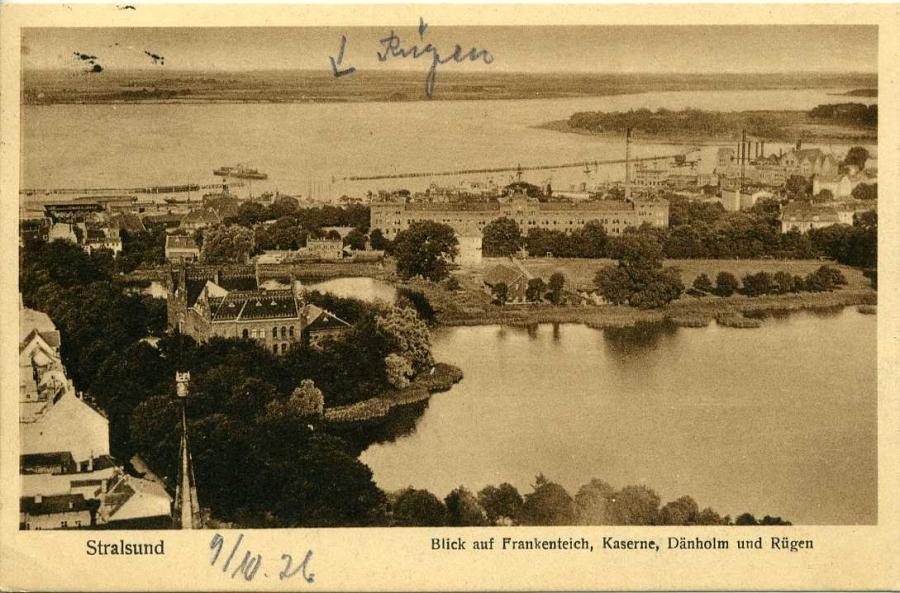 Stralsund Blick auf Frankenteich 1926