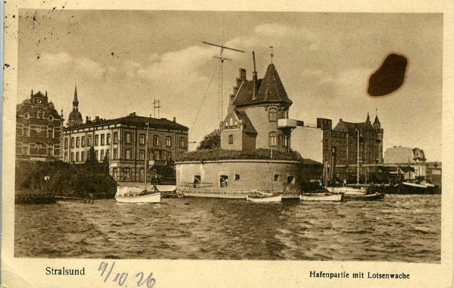 Stralsund Hafenpartie mit Lotsenhaus 1926