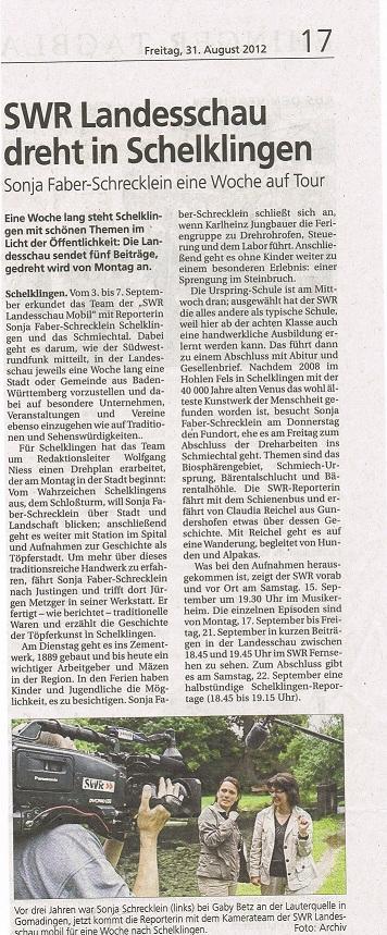 Suedwestpresse 31.08.2012