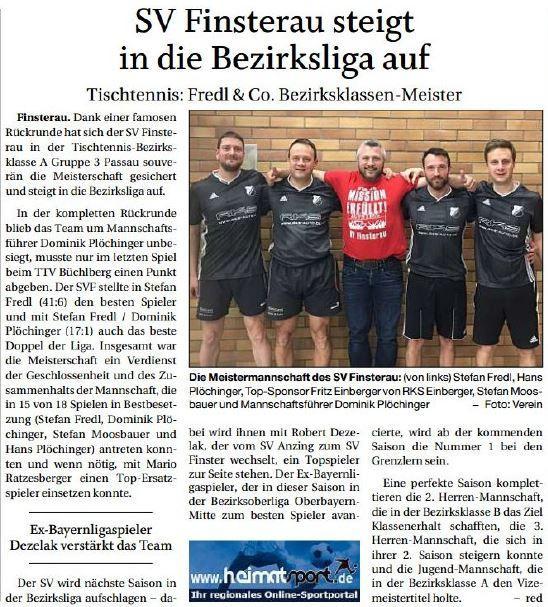 SV Finsterau steigt in die Bezirksliga auf