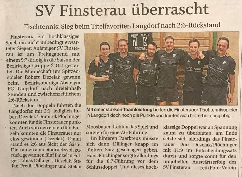 SV Finsterau überrascht