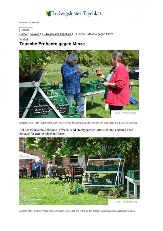 Tausche Erdbeere gegen Minze - SVZ vom 14. Mai 2018
