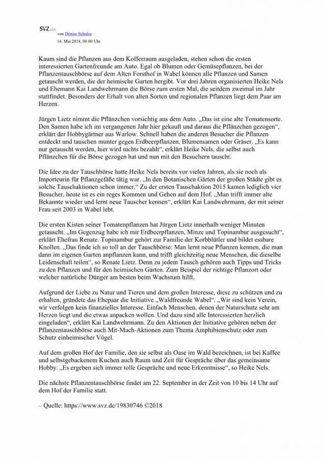 SVZ - Bericht vom 14.05.2018