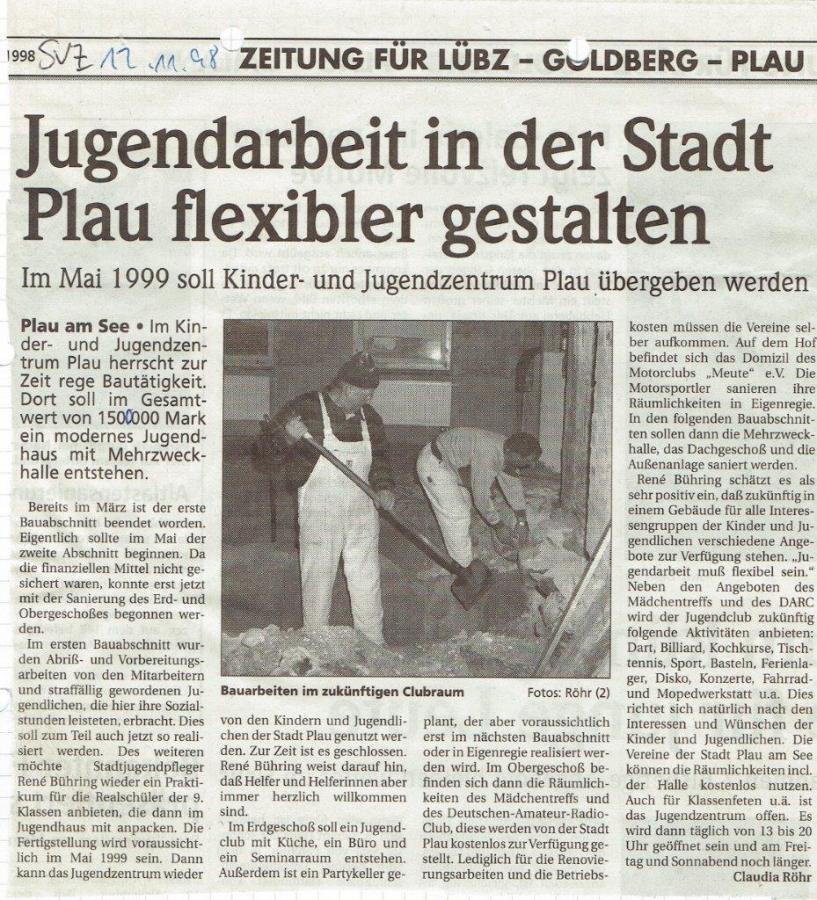 Umbau im ehemaligen Karl-Marx-Haus, SVZ November 1998