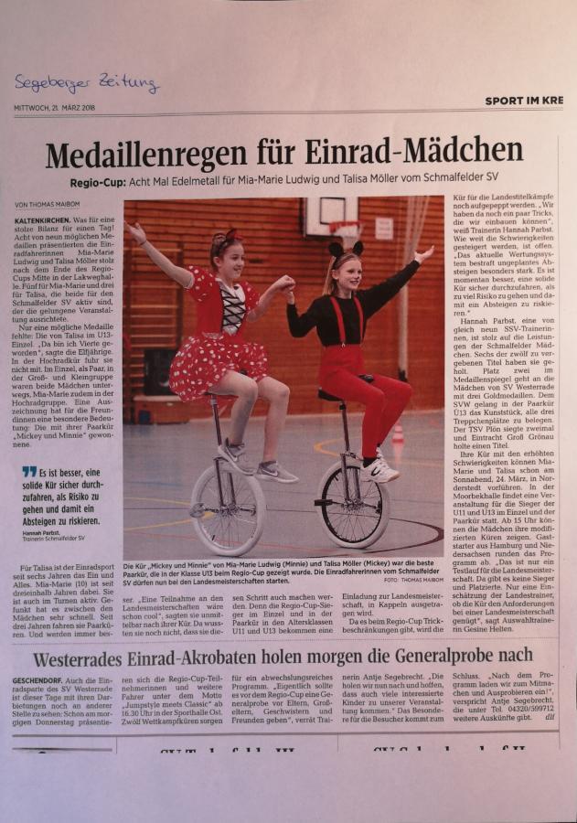 Zeitungsartikel Regio Cup 2018