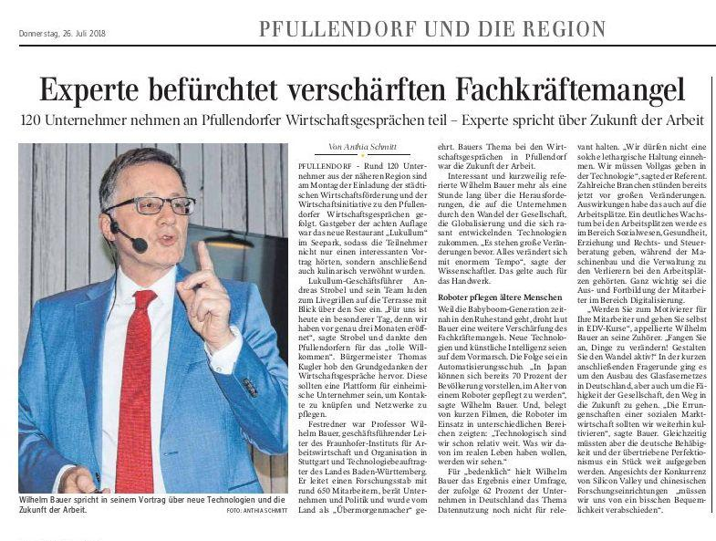 Schwäbische Zeitung 26. Juli 2018