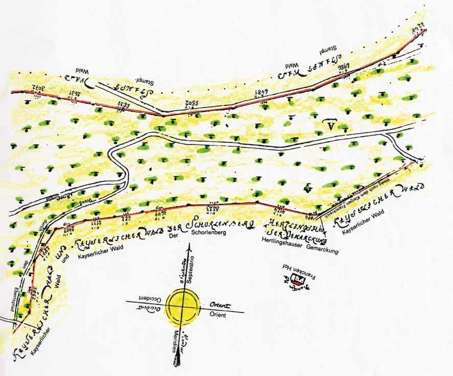 Geometrische Karte von 1810 mit Hof und Weg nach dem Kleinen Franckreich