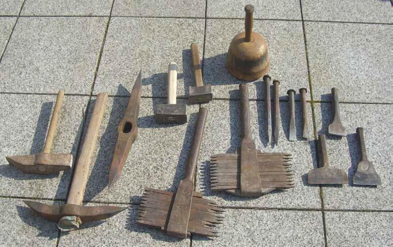 Werkzeuge, verwendet im Steinbruch der Firma Lautensack