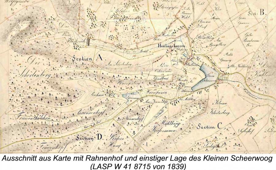 Ausschnitt aus Karte mit Rahnenhof und einstiger Lage des Kleinen Scheerwoog (LASP W 41 8715 von 1839)