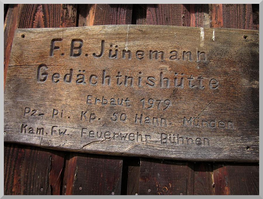 Tafel F B Jünemann Hütte