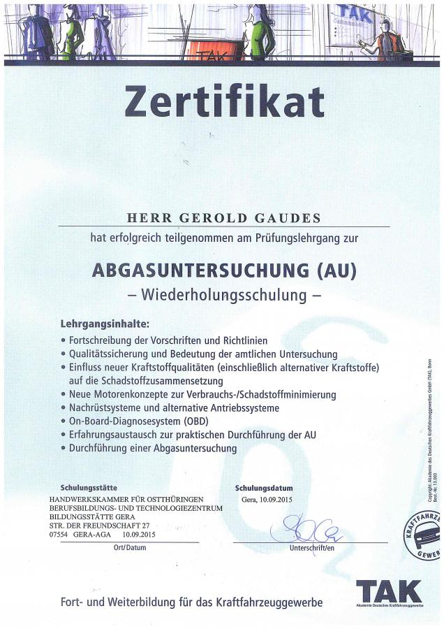 TAK Zertifikat Abgasuntersuchung