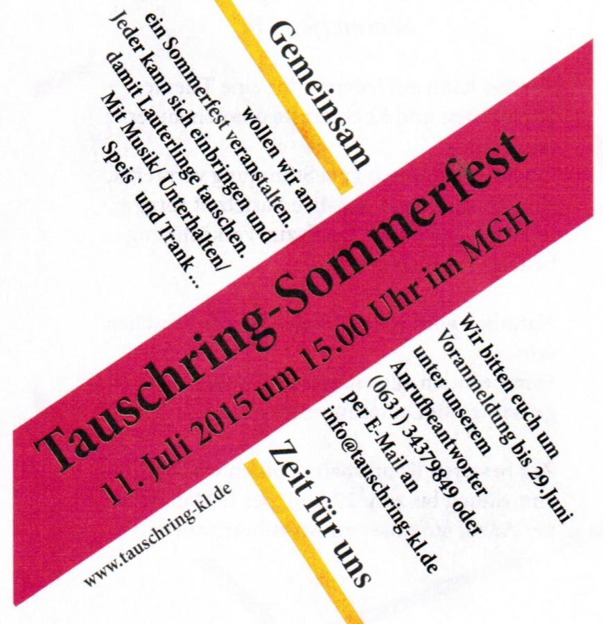 Tauschring Sommerfest 2015 Mehrgenerationenhaus Kaiserslautern