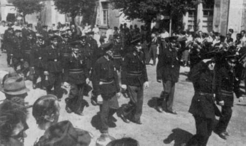 Festumzug der Freiwilligen Feuerwehr 1952 (Rappenauer Straße)