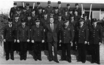 Die Wehrmänner der Freiwilligen Feuerwehr Kirchardt im Jubiläumsjahr 1981