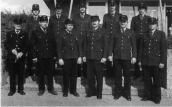 Die Wehrmänner der Löschgruppe Bockschaft im Jubiläumsjahr 1981