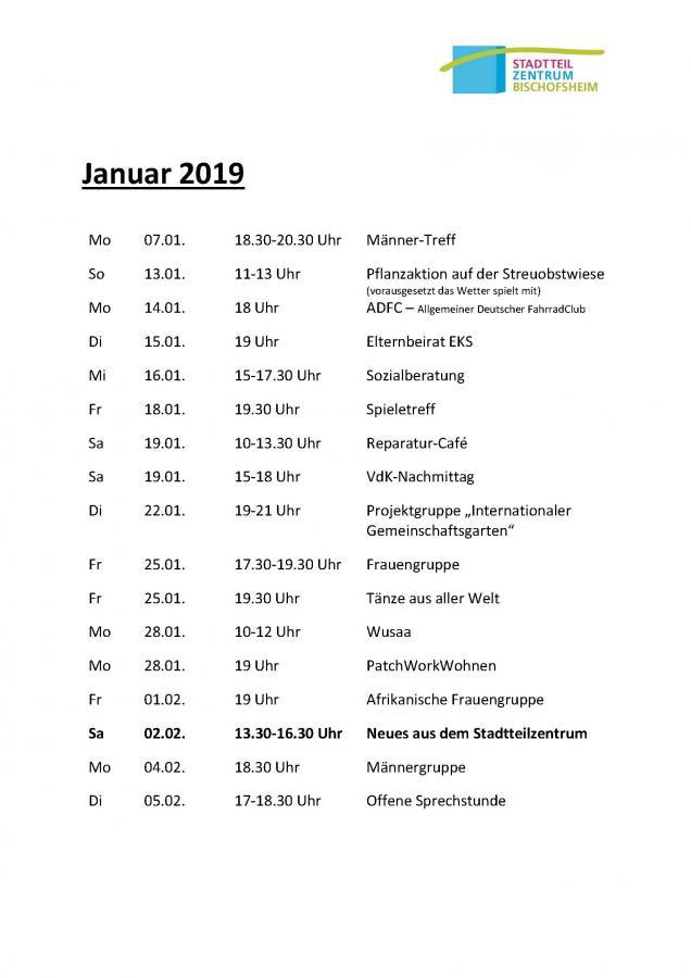 Terminübersicht Stadtteilzentrum Januar 2019 Seite 1