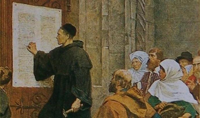 Der Thesenanschlag von Martin Luther 1517, Künstler unbekannt