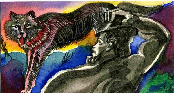 Illustration von Roman Krasnitzky: Bürger begegnet Ungeheuer