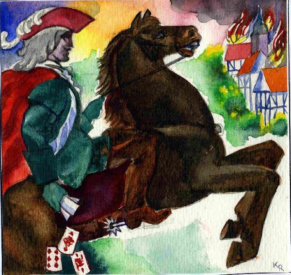 Illustration von Roman Krasnitzky: Graf Reinhard auf einem Pferd