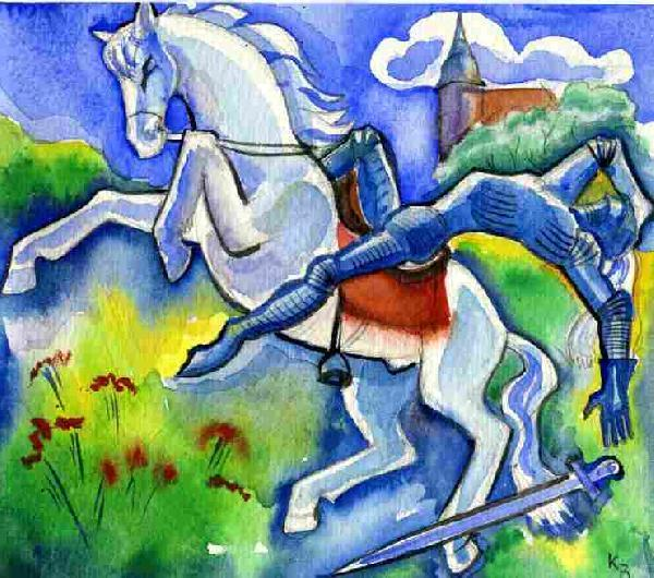 Illustration von Roman Krasnitzky: Reiter stürzt vom Pferd